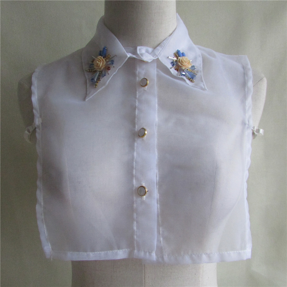 1pcs Sell Solid Shirt Fake Collar White Organza Blouse Vintage