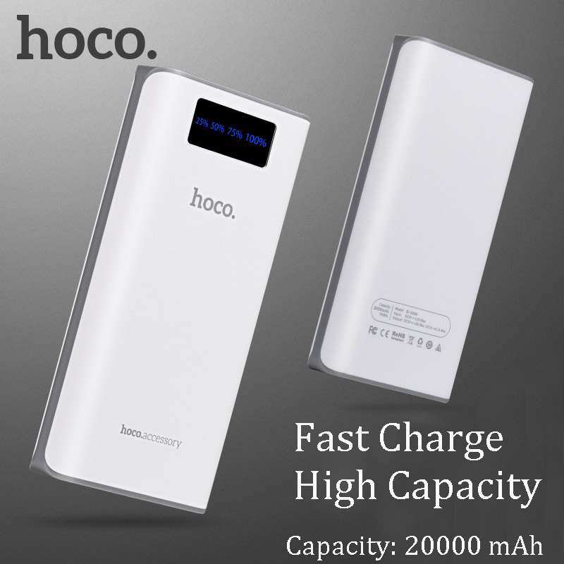 HOCO 20000 mAh Power Bank cargador portátil de pantalla LED con luz de flash par