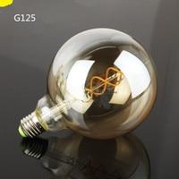 Uncleahtoh 2PCS LOT G125 4W Double Helix Filament E27 LED Lamps 2700K Warm White Transparent Glass