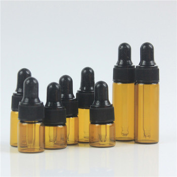 100pcs/lot Empty 1ml 2ml 3ml 5ml essential oils bottle with dropper Amber Glass Dropper bottle Mini essential Oil 30pcs 2ml mini essential oil bottle jar orifice reducer