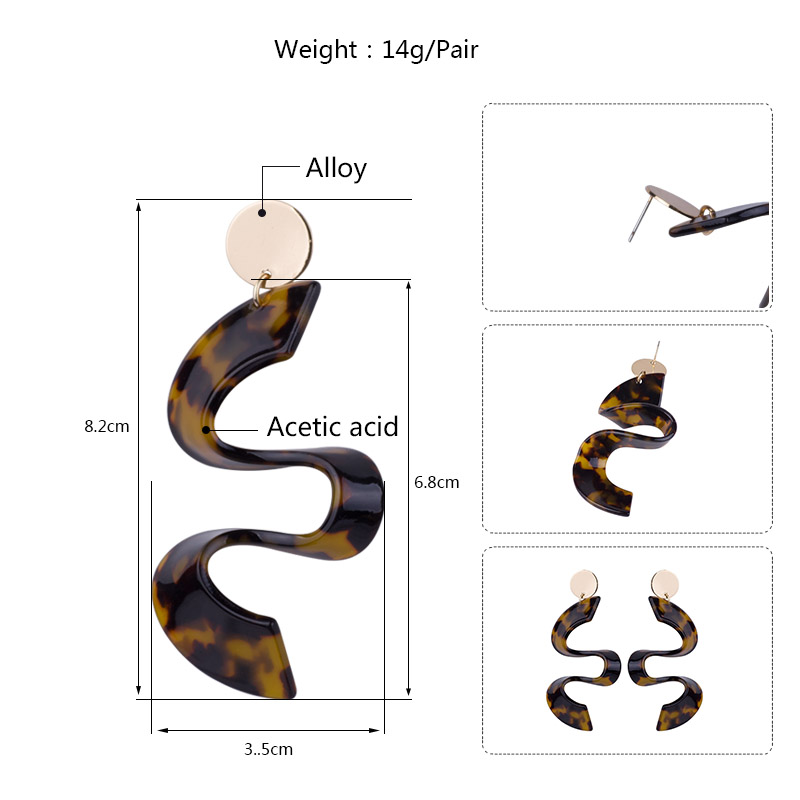 Vintage New Fashion Acetate Long Big Drop Earrings for Women Round Metal Dangling Acetic Acid Acrylic Earrings for Girls Brincos (6)