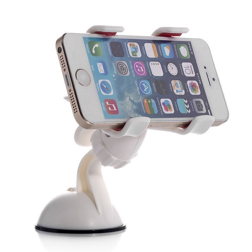 TOP selling 360 Degrees Car Mobile Phone Holder Dashboard Mobile Mount Car Kit Double Clips Holder GPS Car Mount for iphone