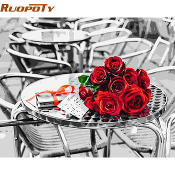 RUOPOTY Frame Rose DIY Painting By Numbers Kits Calligraphy Painting Wall Art Wedding Decoration Unique Gift 40x50