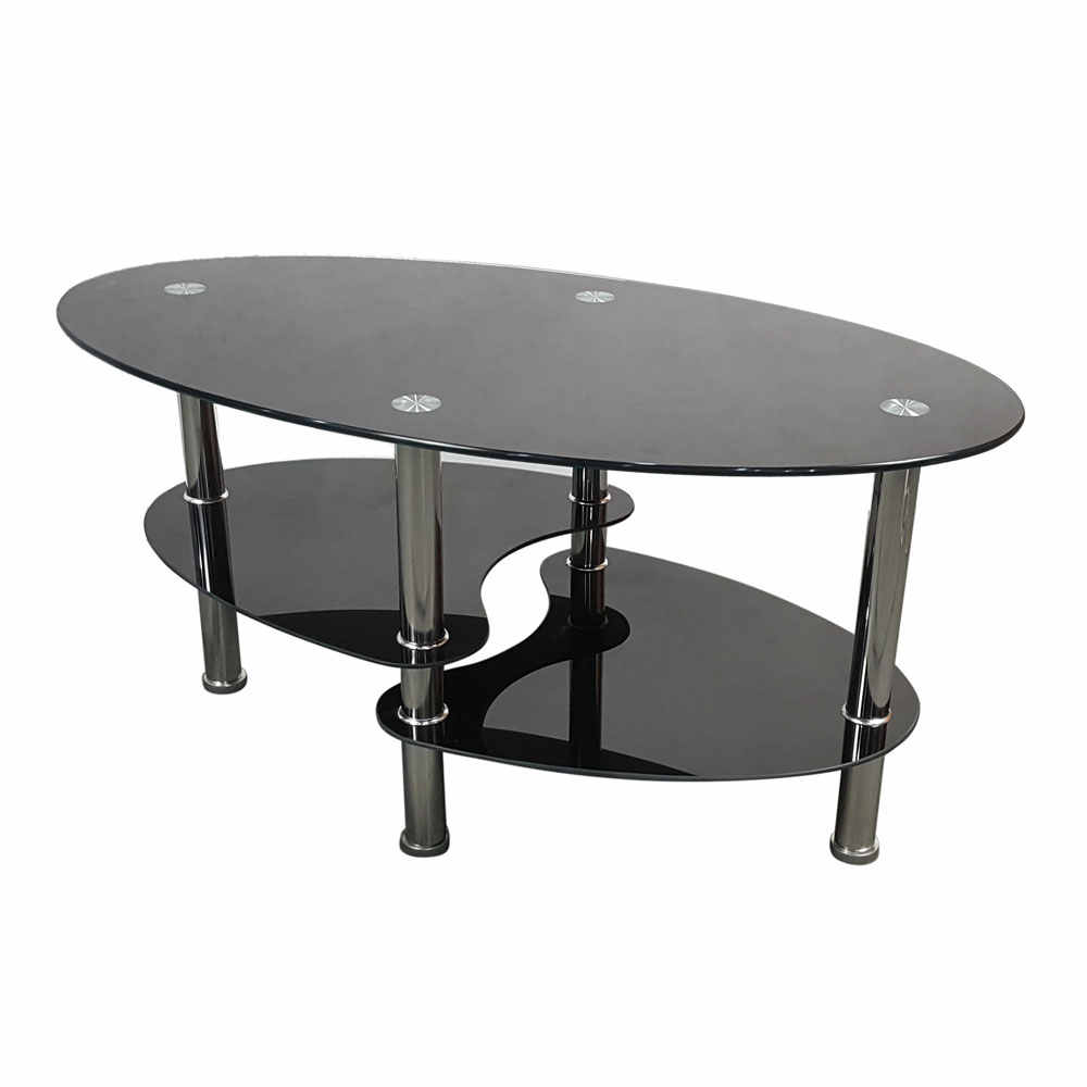 Dual Fishtail Style Tempered Glass Coffee Table Black