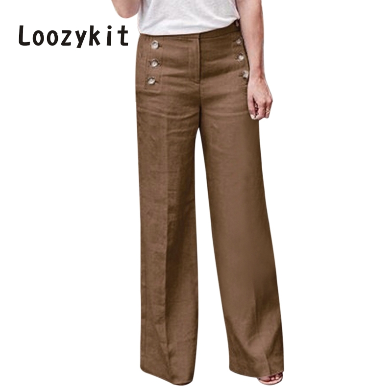 LOOZYKIT 2019 Autumn Women Cotton Linen   Wide     Leg     Pants   Casual Solid High Waist Trousers Loose Button Office Lady Long   Pants
