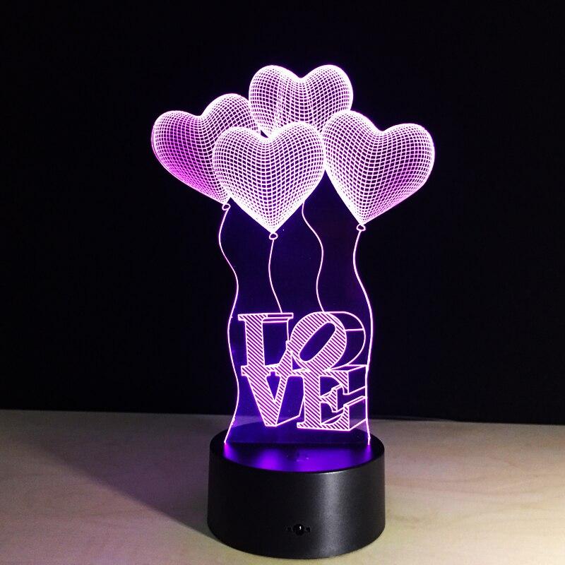 Romantic 3D di Amore a forma di Cuore Visualizzazione LED Night Lights Optical Illusion Art Regalo per San Valentino di Nozze Girl Friend Wife