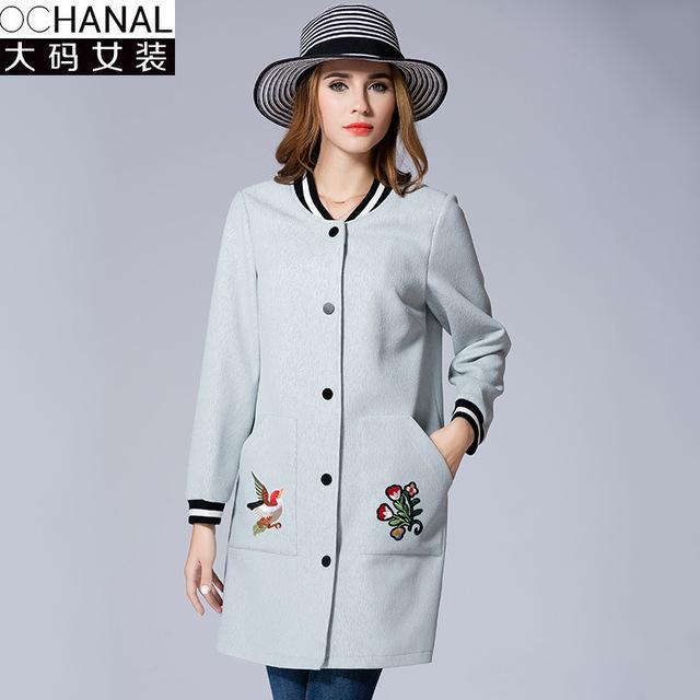 2016 trinchera abrigo de otoño e invierno nuevas mujeres de gran tamaño del bordado largo abrigo de la mujer rompevientos abrigo de las mujeres de China estilo