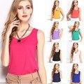 2017 Весна Лето Новый Повседневная Мода Классический Рукавов Тропических Жилет Женщин Свободные Chiffion Блузка Плюс Размер Сплошной Цвет