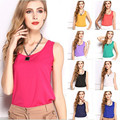 2017 Spring Summer Brand New Casual Fashion Classic Sleeveless Tropical Vest Women Loose Chiffion Blouse Plus Size Solid Color