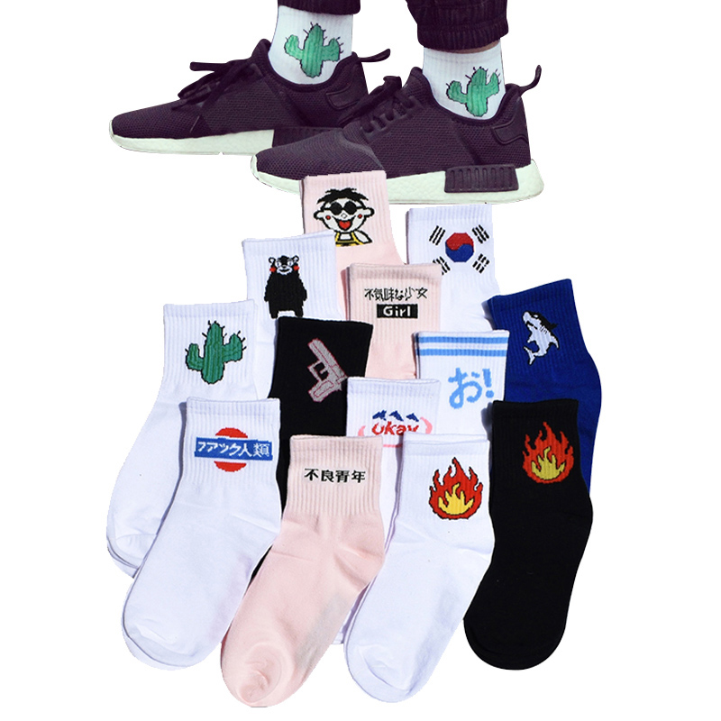 Frauen Tägliche Socken Harajuku Korea Japanische Baumwolle Kätzchen Flamme Ulzzang Socken Männer Chinesischer Kaktus Gun Shark Alien Studenten Socken