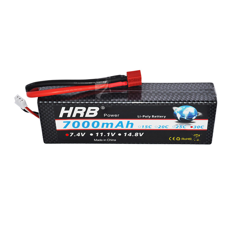 HRB RC Lipo 2S2P Bateria 7.4V 7000mah 30C-60C Hard Case Drone AKKU Battery For RC Traxxas 1/10 Car Boat Helicopter Quadcopter mos rc airplane lipo battery 3s 11 1v 5200mah 40c for quadrotor rc boat rc car