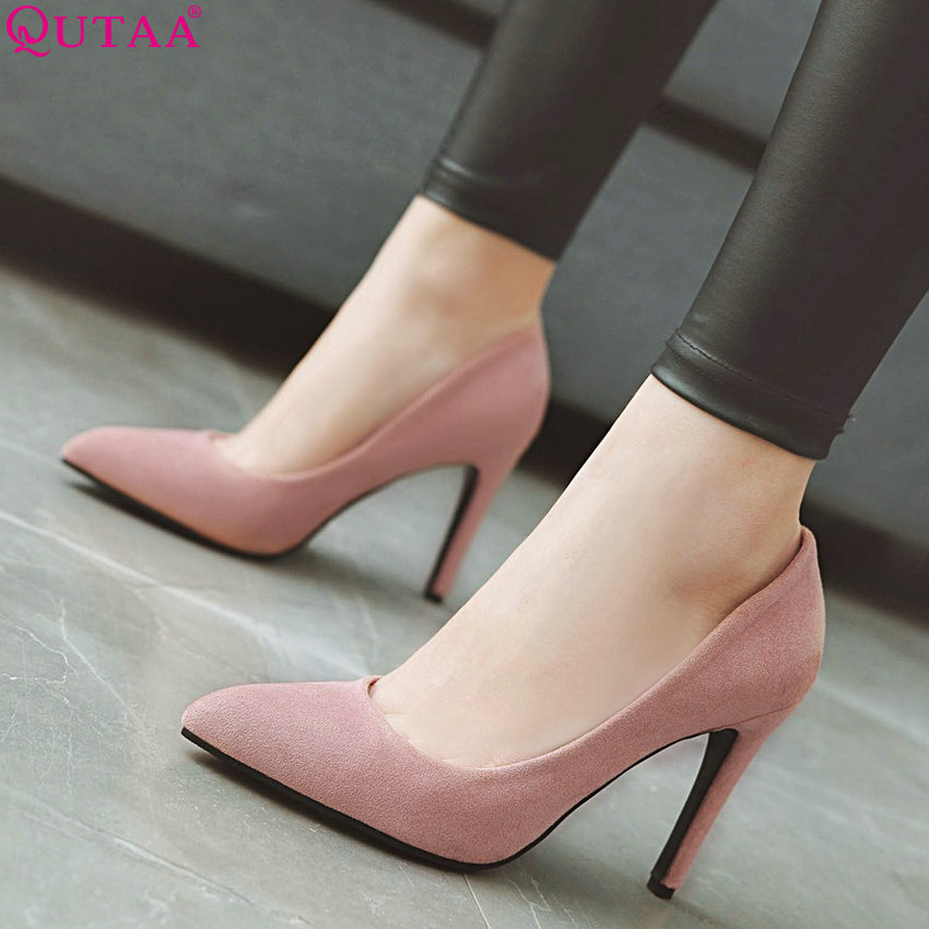 QUTAA Women Shoes Wedding-Pumps Pointed-Toe High-Heel Thin All-Match Fashion Flock Size-34-43