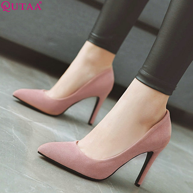 QUTAA 2019 Women Pumps Fashion Women Shoes Spring/autumn All Match Thin High Heel Pointed Toe Flock Wedding Pumps Size 34-43