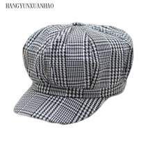 HANGYUNXUANHAO New Cotton Women Beret Autumn Winter Plaid Vintage Fashion Octagonal Casual 2019 Brand Womens Caps