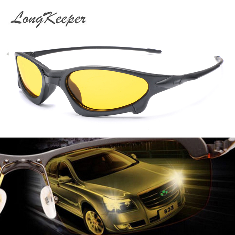 LongKeeper Night Vision Sunglasses for Men UV400 Protection Night Driving Glasses Male HD Polarized Yellow Lens Sun Glasses 1034