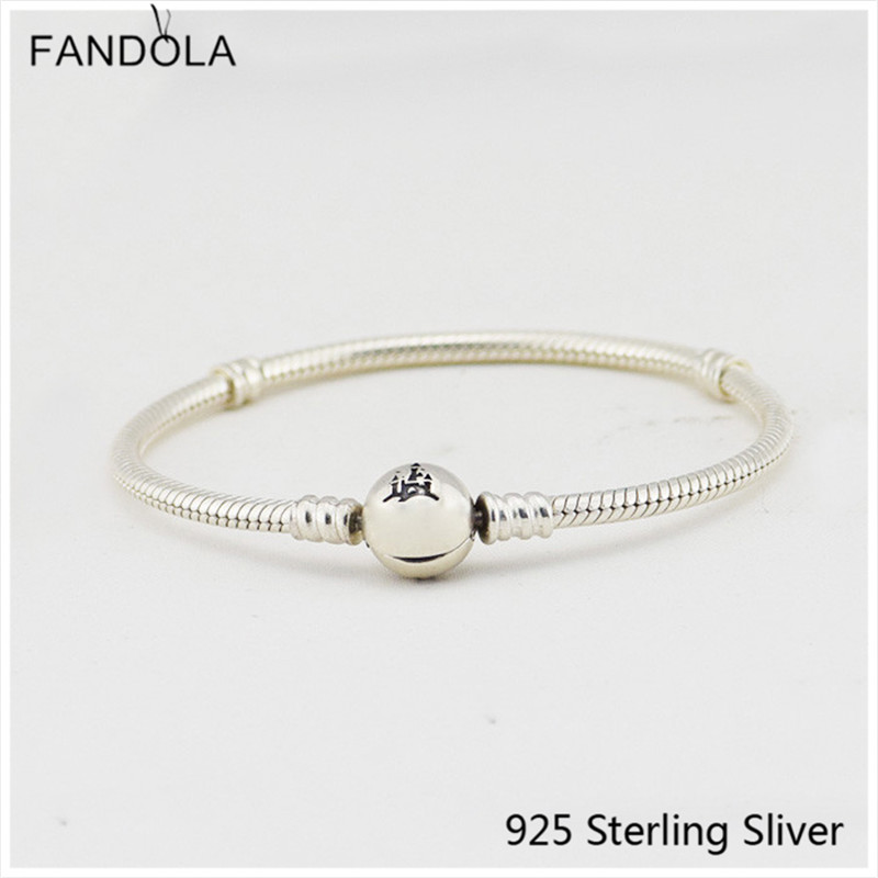 100 925 Sterling Silver Wonderful World Bracelet with Castle Clasp Fits For DIY Women Jewelry pulseira