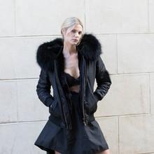 New Solid Real Rex Rabbit Fur Lining Parkas Women Winter Real Raccoon Fur Collar Hooded Coat Woman Warm Jacket Female