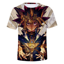 3D Yu Gi Oh Yugi Muto Men's Summer T Shirts Boys Girls Unisex Short Sleeves O-Neck Kpop Hip Hop Cotton Cartoon T-Shirt Maxi Size(China)