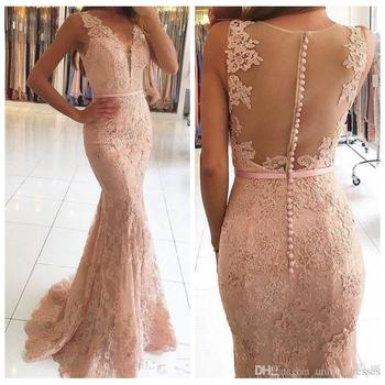 Hot Seller Lace Evening Dresses 2019 V Neck Appliques Beaded Prom Dress Sexy Illusion Back Formal Gown Vestidos De Fiesta