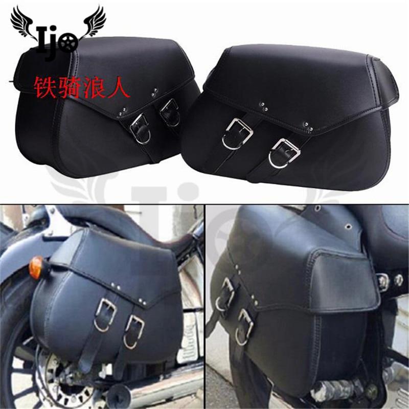 motorcycle saddle bag for kawasaki honda suzuki High-quality leather unviersal helmet bag Motorcycle Bag side bag
