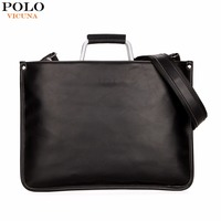 VICUNA POLO Simple Design Leather Men Briefcase With Metal Handle Business Men Document Bag Classic OL