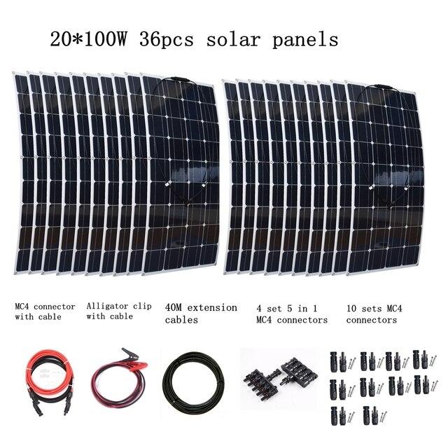 20*100W Flexible Solar Panel + 40M Extension Cables + 4 Pair 5 in 1 MC4 Connectors + 10 Pair MC4 Connectors 2000W Solar System