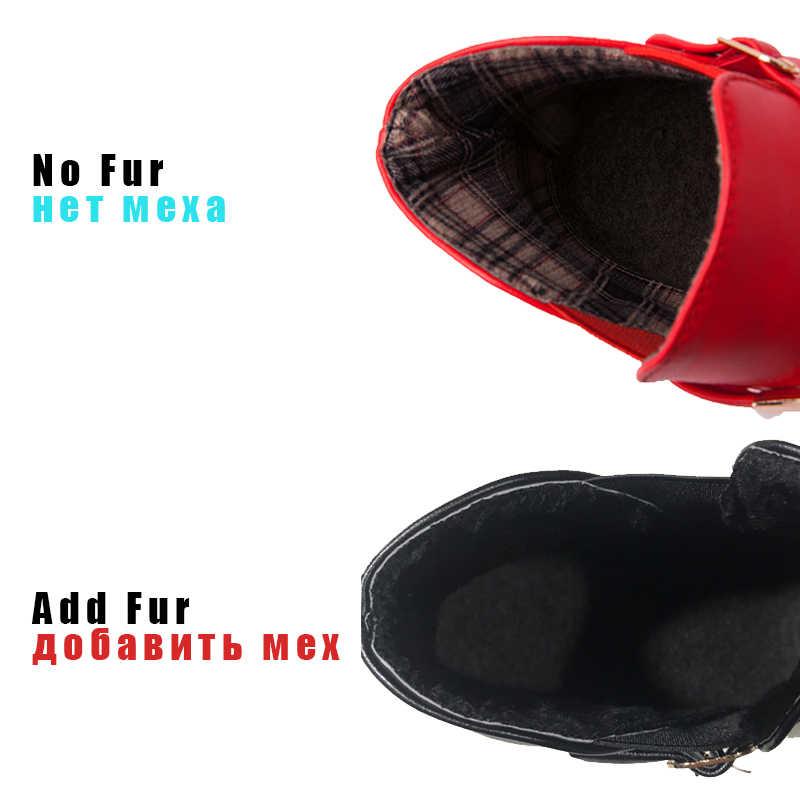 BONJOMARISA talla grande 33-46 Venta caliente primavera negro Chelsea botines mujeres puntiagudos tacones bajos zapatos mujer Metal Decoración