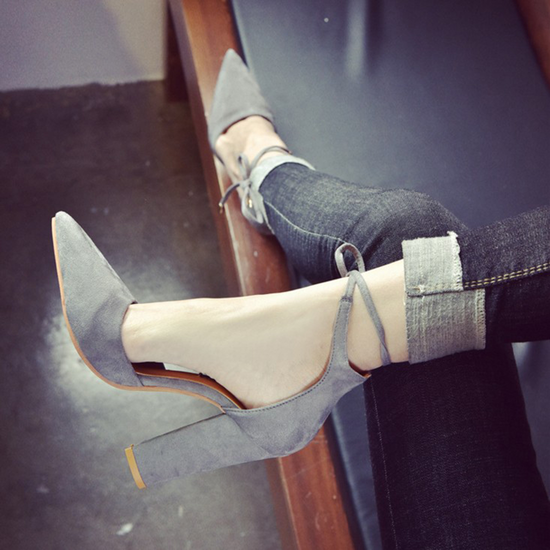 ed6dc758d2e4 Fashion New Summer Style women s Lace Up high heels Pointed Toe Bandage  Chunky Pumps celebrity ladies shoes Pumps Black