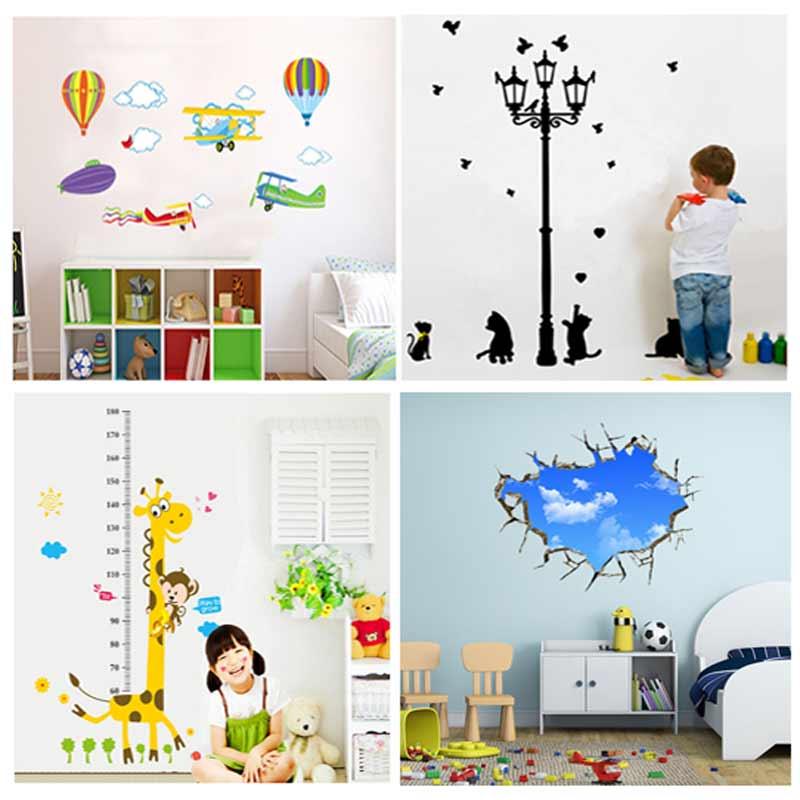 4PC 4 Style Wall Sticker Home Decor Cartoon Giraffe Height Ruler Home Decoration Kids Room Decals Wall Stickers Kid Height Chart