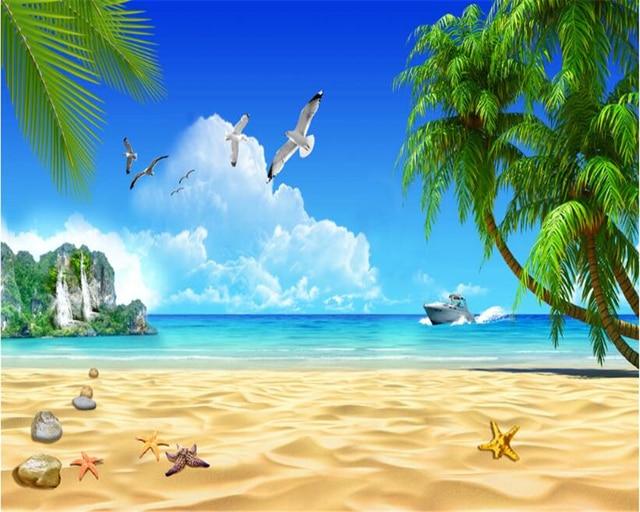 Hd Coconut Tree Seaside Landscape Nature Wallpaper Living: Beibehang 3D Fashion Senior Wallpaper Beach Coconut Trees