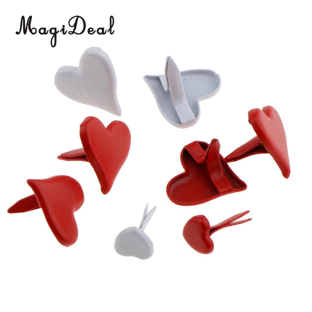 100 x 11mm Heart Shape Mini Brads Paper Fastener Scrapbooking Craft
