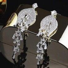 Centro comercial genuina rigant oro blanco plateado zirconia cúbico joyería de lujo pendientes largos para las mujeres. joyería nupcial
