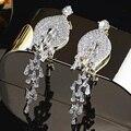 Shopping rigant genuine branco banhado a ouro zirconia cúbico de luxo jóias brincos longos para as mulheres. jóias nupcial