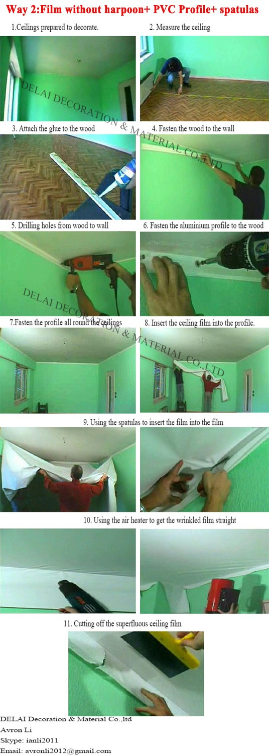 5how to install the ceiling film without harpoon