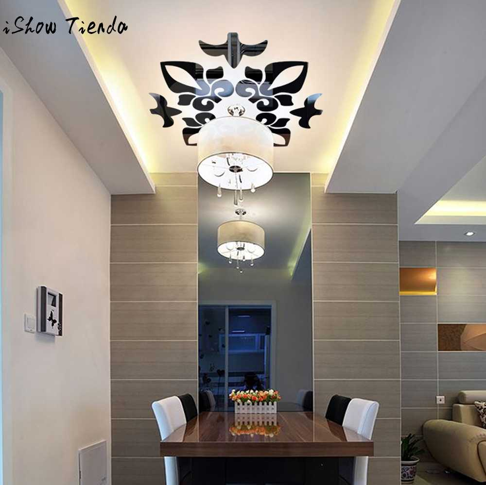 Creative Abstract Acrylic Style 3D Wall Sticker Mirror Ceiling Wall Mirrors Wall Stickers Home Decor Living Room 300mm*300mm Hot