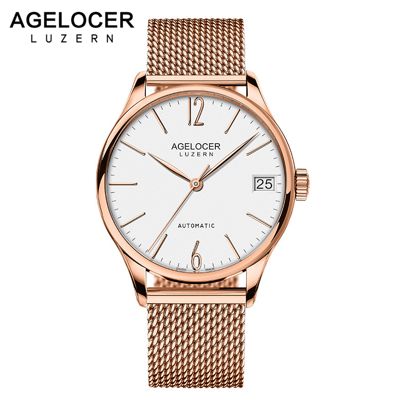 AGELOCER Luxury Brand Men 316L Stainless Steel Gold Watch Men's Automatic Mechanical Clock Man Waterproof Wrist Watches Mens switzerland agelocer top brand automatic watches men luxury 18k gold 316l steel mesh watch with date clock man relogio masculino
