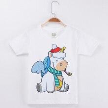 цены New Funny T-Shirt Creative Unicorn Print Boys Tshirt Children Clothing Girls T Shirts Cotton White Short Sleeve O-Neck Kids Tees