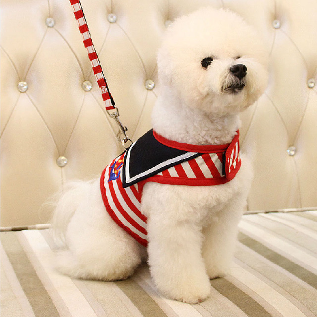 New Dog Chest Clothes Navy Vests Leash Pothook Button Dog Harness Vest Outdoor Walking Pet Lead