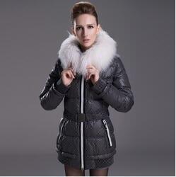 2013 new euro fashion Slim cute polka dot wool collar plus size medium long winter Down padded coat women free ship D1932