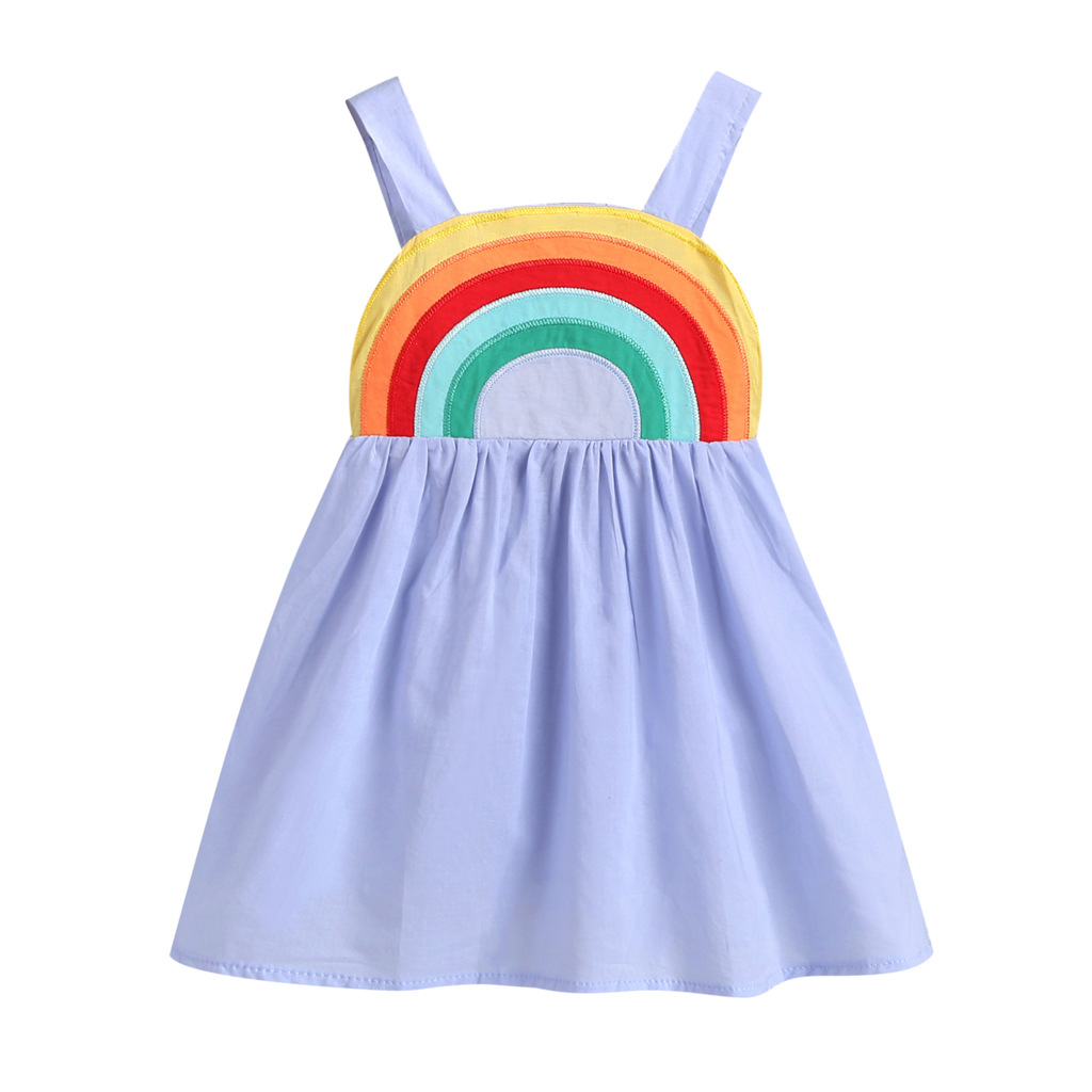 New Toddler Baby Girl Backless Rainbow Sling Dress Casual Summer Outfits 1-7 Years Girls Sleeveless Princess Dress Kids Clothes