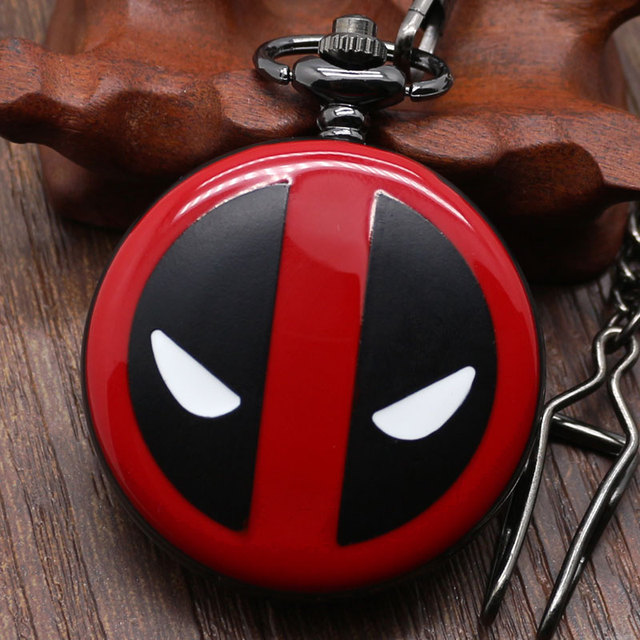 Fashion Deadpool Cosplay Anime Cartoon Quartz Pocket Watches for Kids Boy Girls