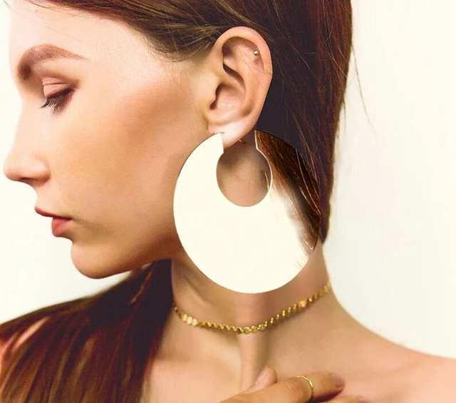 92a8b2f36c8a4 US $2.91 41% OFF|GEREIT Exaggerated Indian Gold Geometric Big Circle  Statement Earrings Women Oversize Large Hoop Earrings African Dubai  Jewelry-in ...