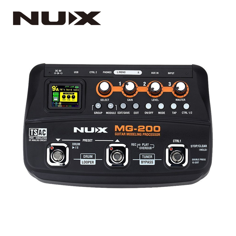 NUX MG-200 Guitar Modeling Processor Guitar Multi-effects Processor with 55 Effect Models EU Plug nux mg 20 electric guitar multi effects pedal guitarra modeling processor with drum machine eu plug