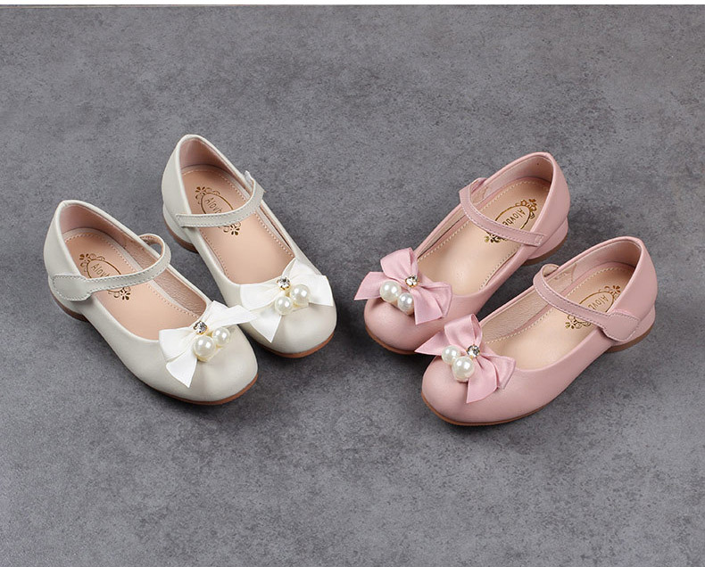 Girls pearls bow leather shoes, baby kids NEW 2018 SPRING/FALL fashion, retail summer child boutique wear, 1AS503-41R
