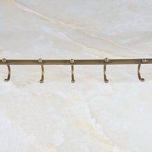Montado en la pared Retro Vintage latón antiguo baño toalla individual Barra soporte de toalla con ganchos accesorios de baño mba722