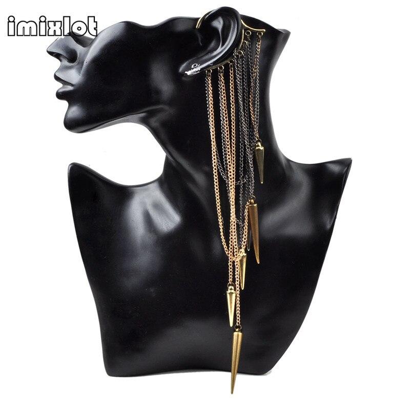 Imixlot Earrings Jewelry Ear-Cuff Long-Tassels Gothic Vintage Wrap-Clip Punk 1PC Spike