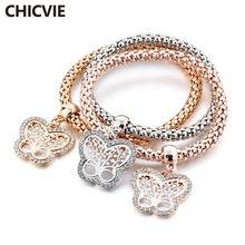 Chicvie Новинка 3 шт браслет бабочка подарочные браслеты цепочки