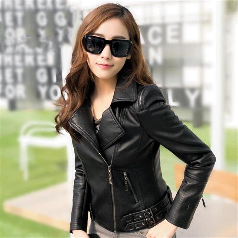 Plus la taille Femmes PU Moto Veste En Cuir Automne Hiver