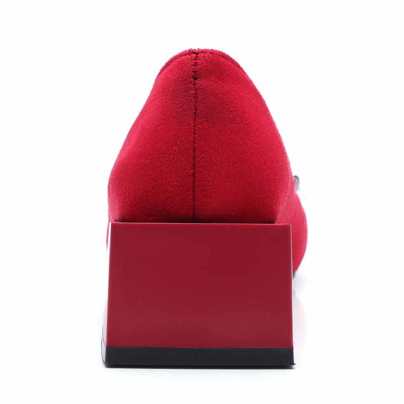 Mùa xuân năm 2018 Phụ Nữ Đôi Giày Thấp Gót Pump Khối Tinh Thể Gót bơm Nữ Giày Kim Loại Buckle Slip-on Quan Hệ Nhân Quả Bơm Cộng Với Kích Thước 32-48
