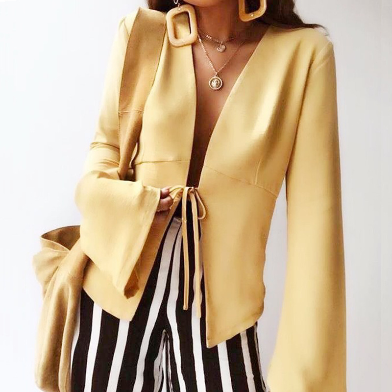 2019 Temperament Waist Slim Ladies Small Suit Long Sleeve Coat Sexy Splicing Lace-Up Yellow Fashion New Summer Casual Suit